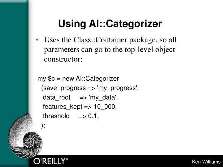 Using AI::Categorizer