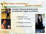 what types of activities should i include