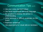 communication tips con t