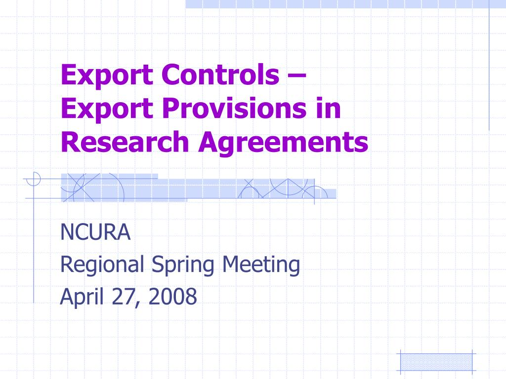 export controls export provisions in research agreements l.