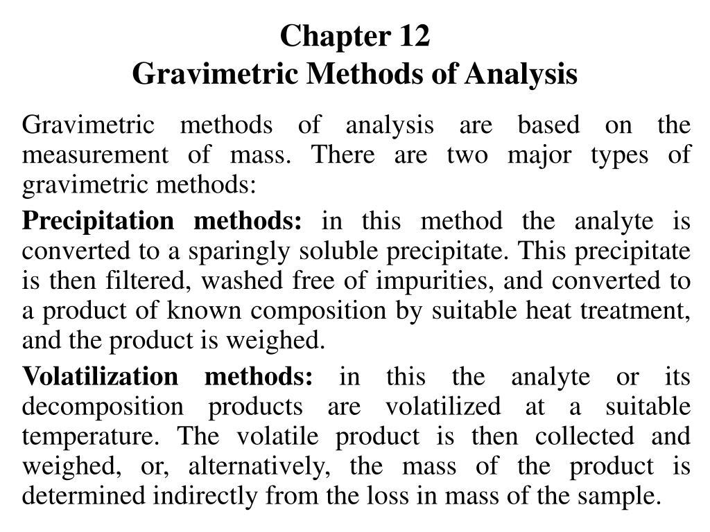 chapter 12 gravimetric methods of analysis l.