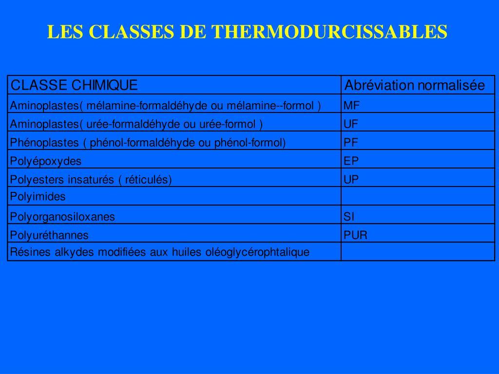 LES CLASSES DE THERMODURCISSABLES