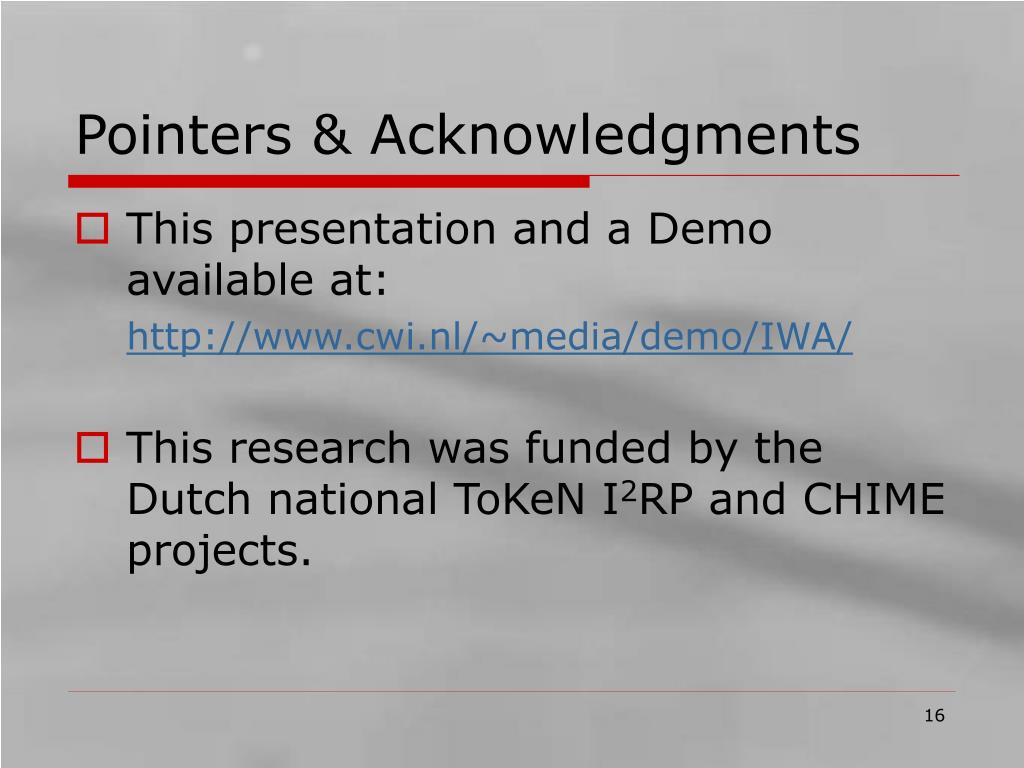 Pointers & Acknowledgments