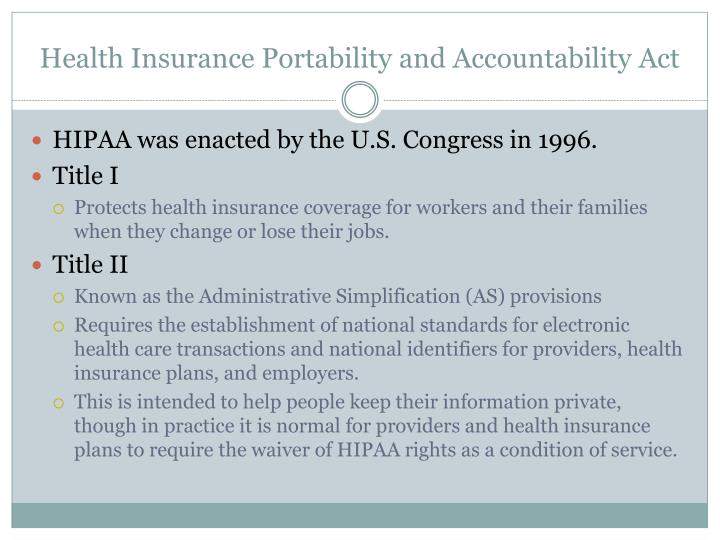 a discussion on the sensitivity of ones personal information and the hipaa act New national health information privacy standards have been issued by the us department of health and human services (dhhs), pursuant to the health insurance portability and accountability act of 1996 (hipaa.