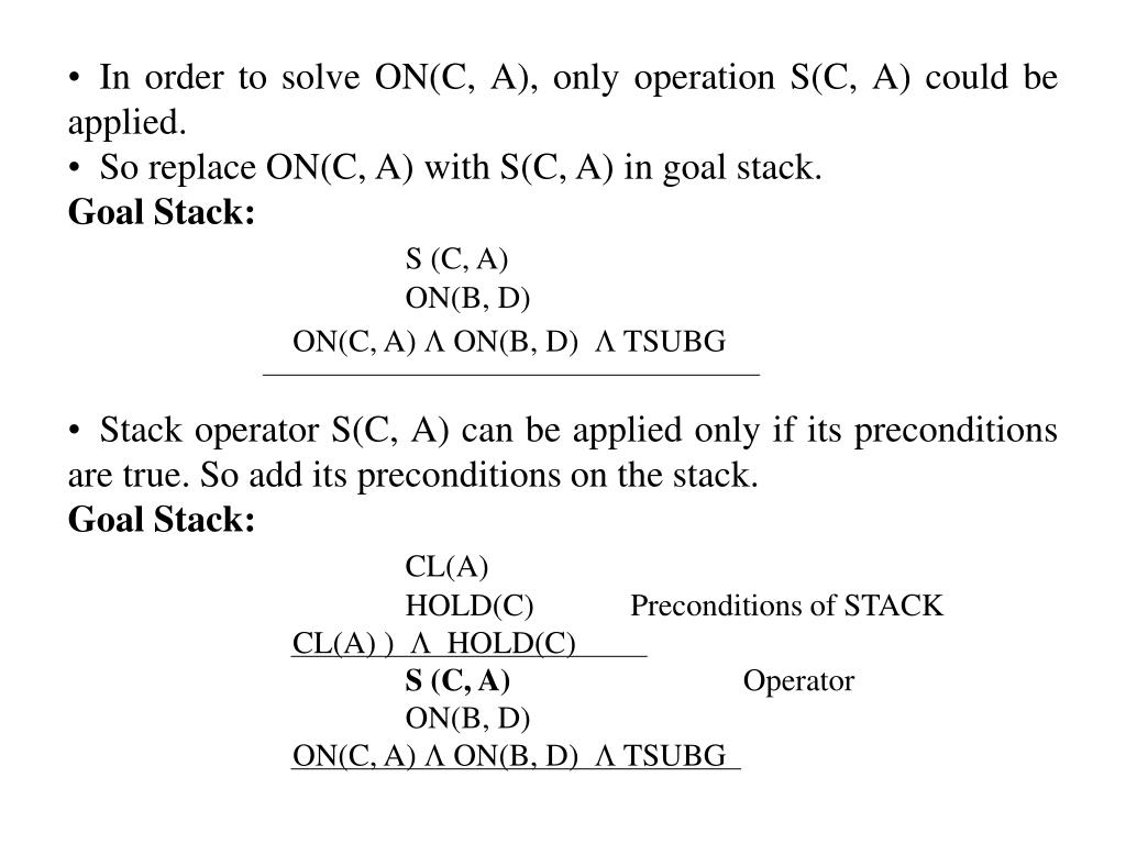 In order to solve ON(C, A), only operation S(C, A) could be applied.