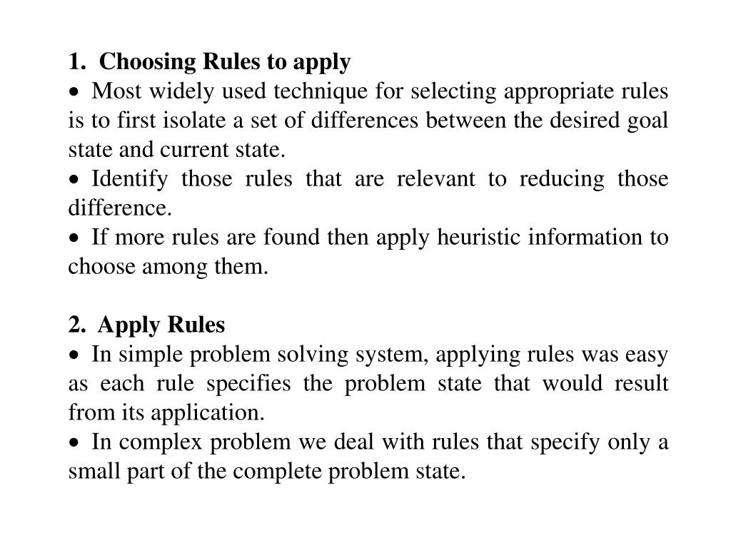 1.  Choosing Rules to apply