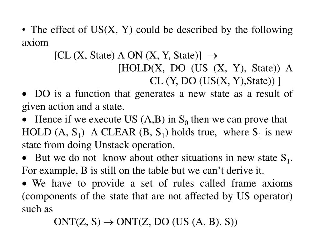 The effect of US(X, Y) could be described by the following axiom