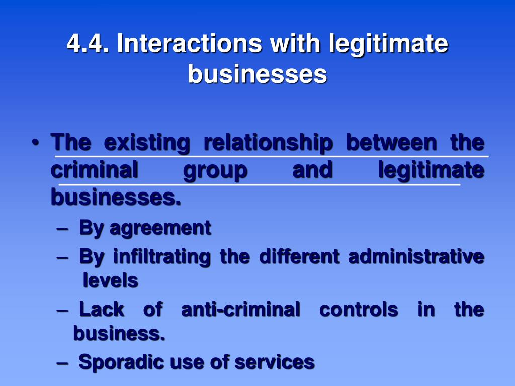 4.4. Interactions with legitimate businesses