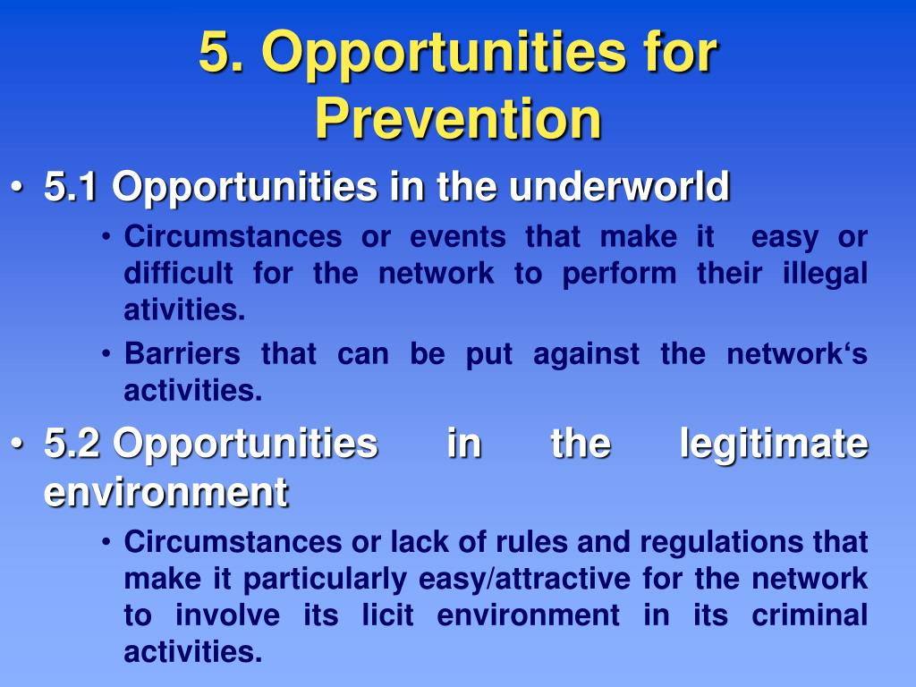5. Opportunities for Prevention