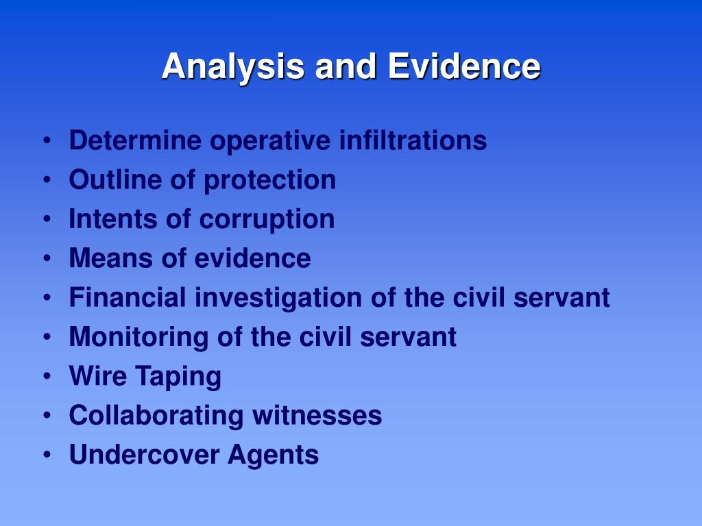 Analysis and Evidence