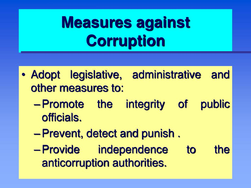Measures against Corruption