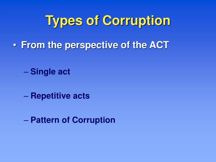 Types of corruption