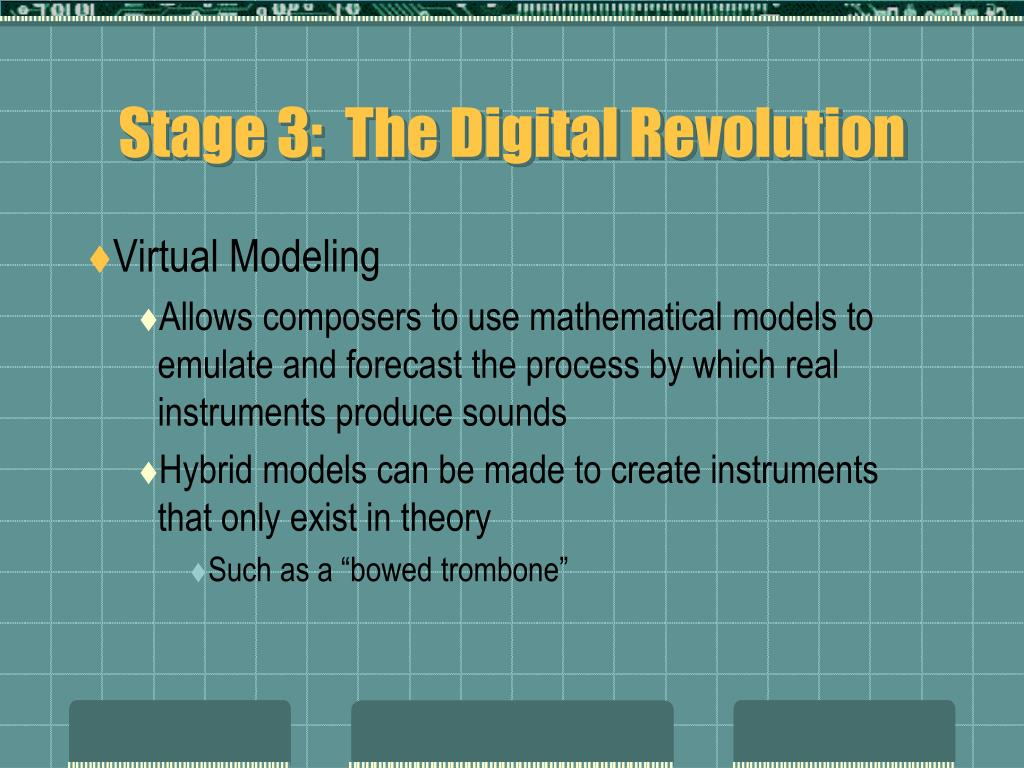Stage 3:  The Digital Revolution