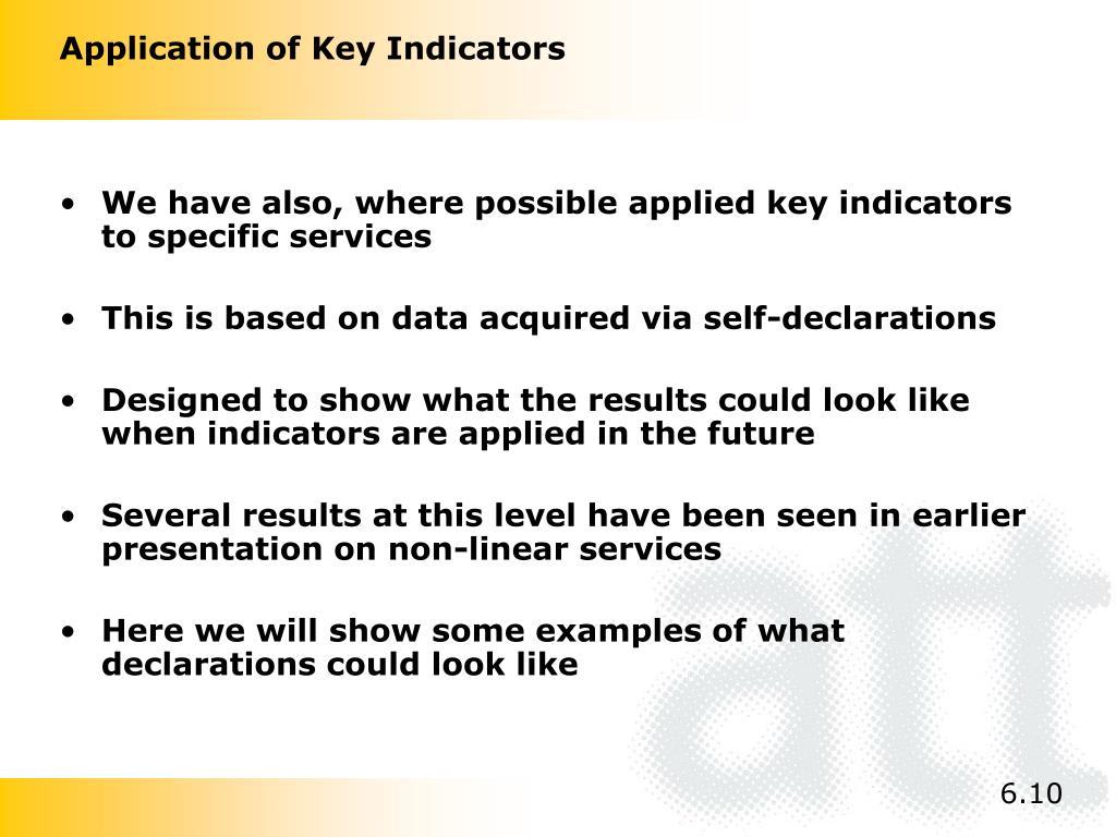 Application of Key Indicators