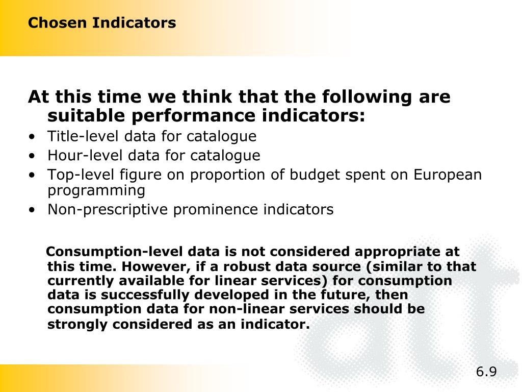 Chosen Indicators
