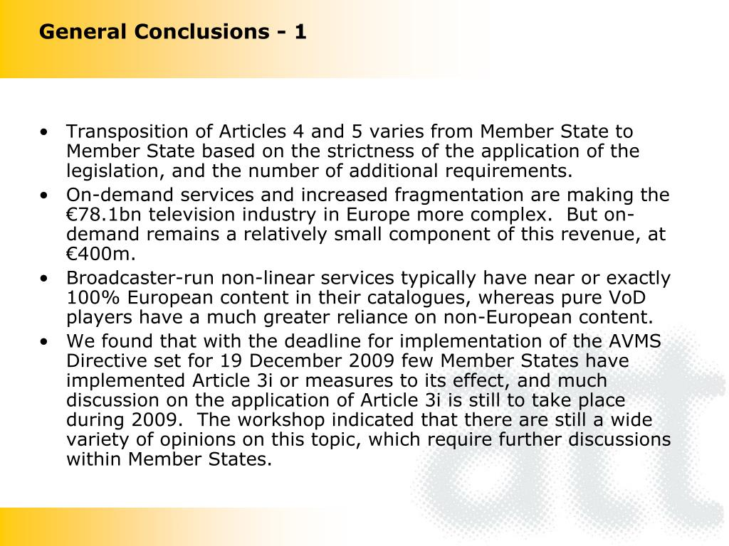General Conclusions - 1