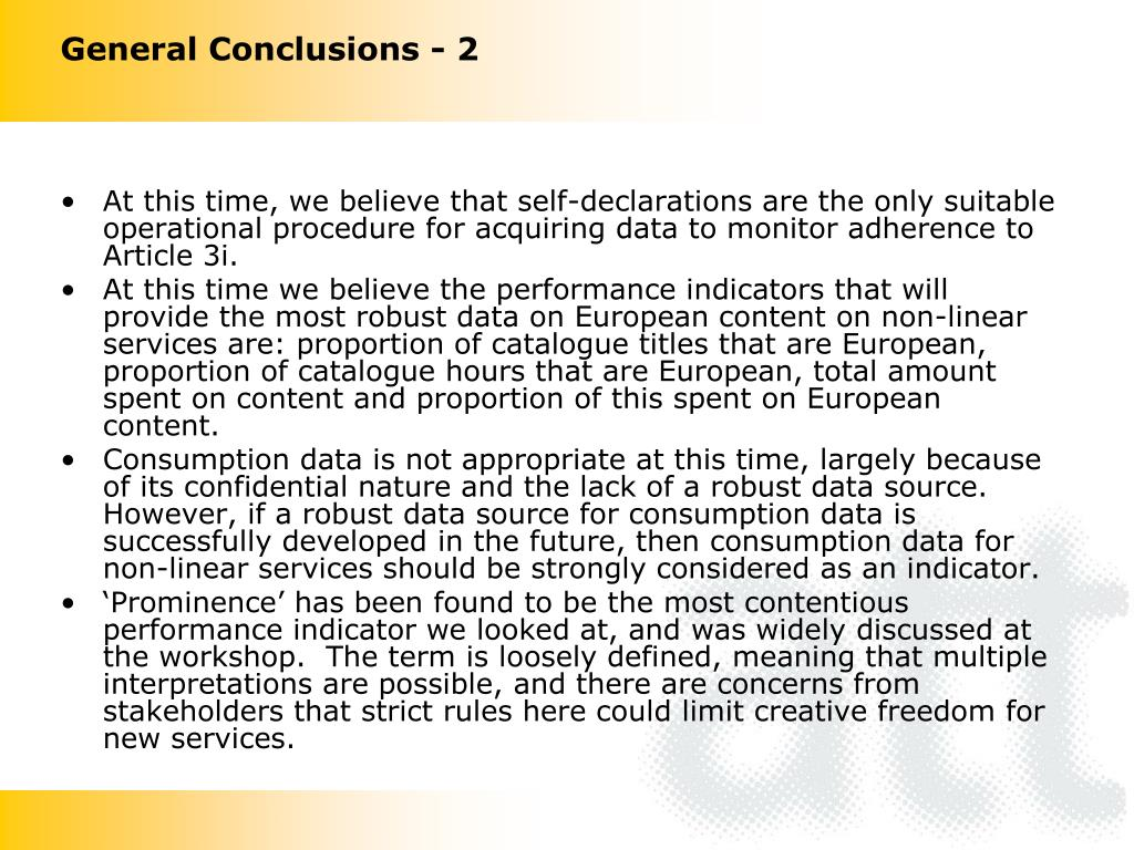 General Conclusions - 2