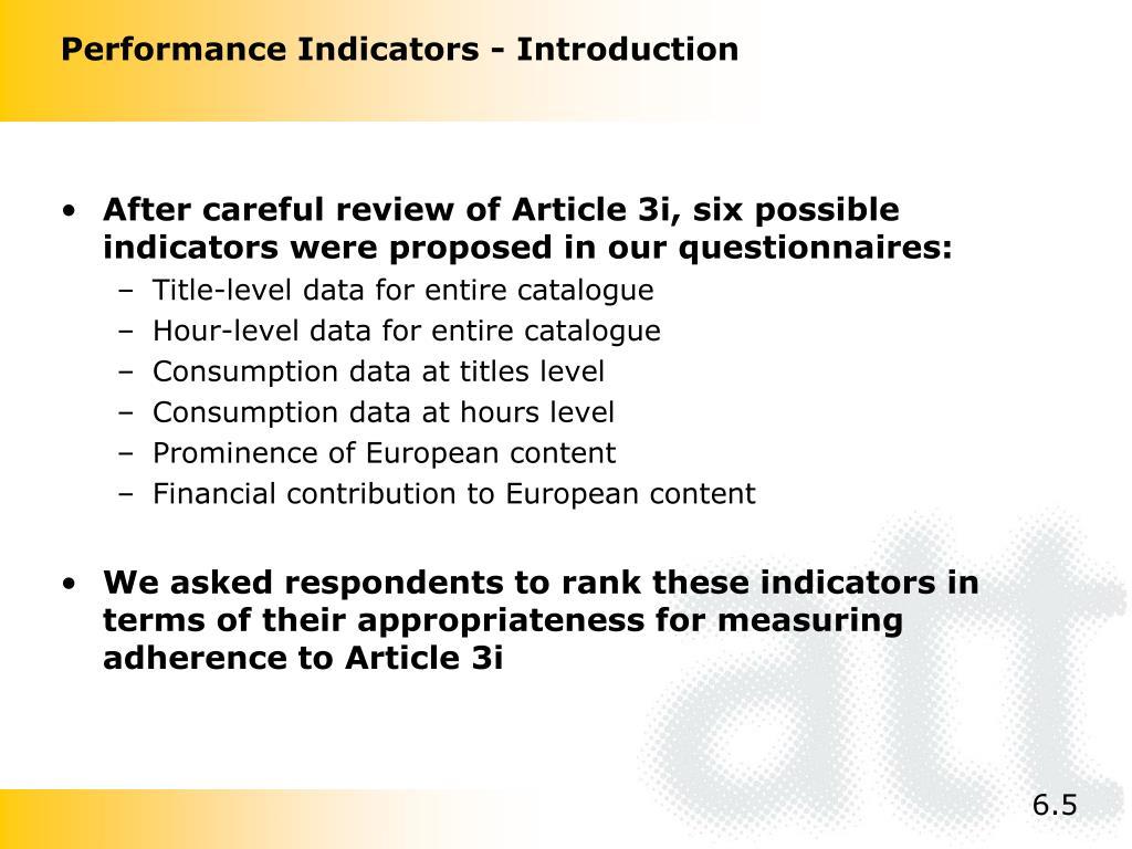 Performance Indicators - Introduction