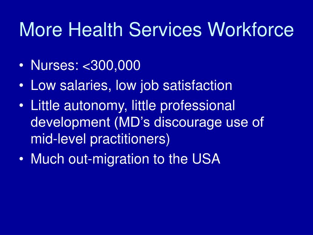 More Health Services Workforce