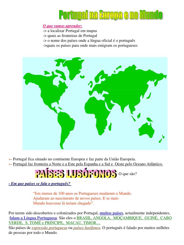 Ppt O Que Vamos Aprender A Localizar Portugal Em Mapas