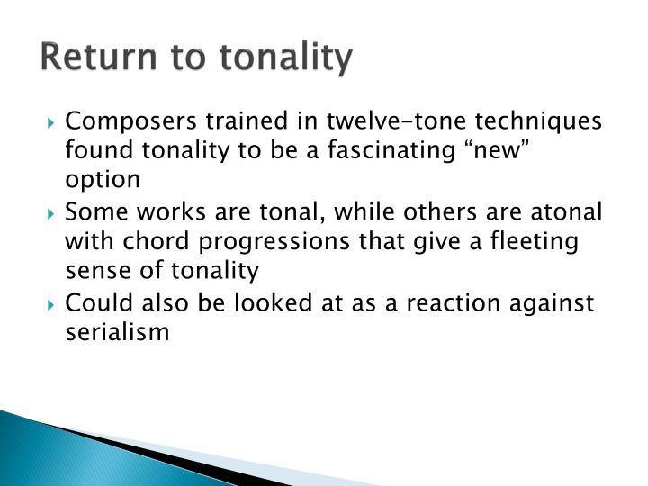 Return to tonality