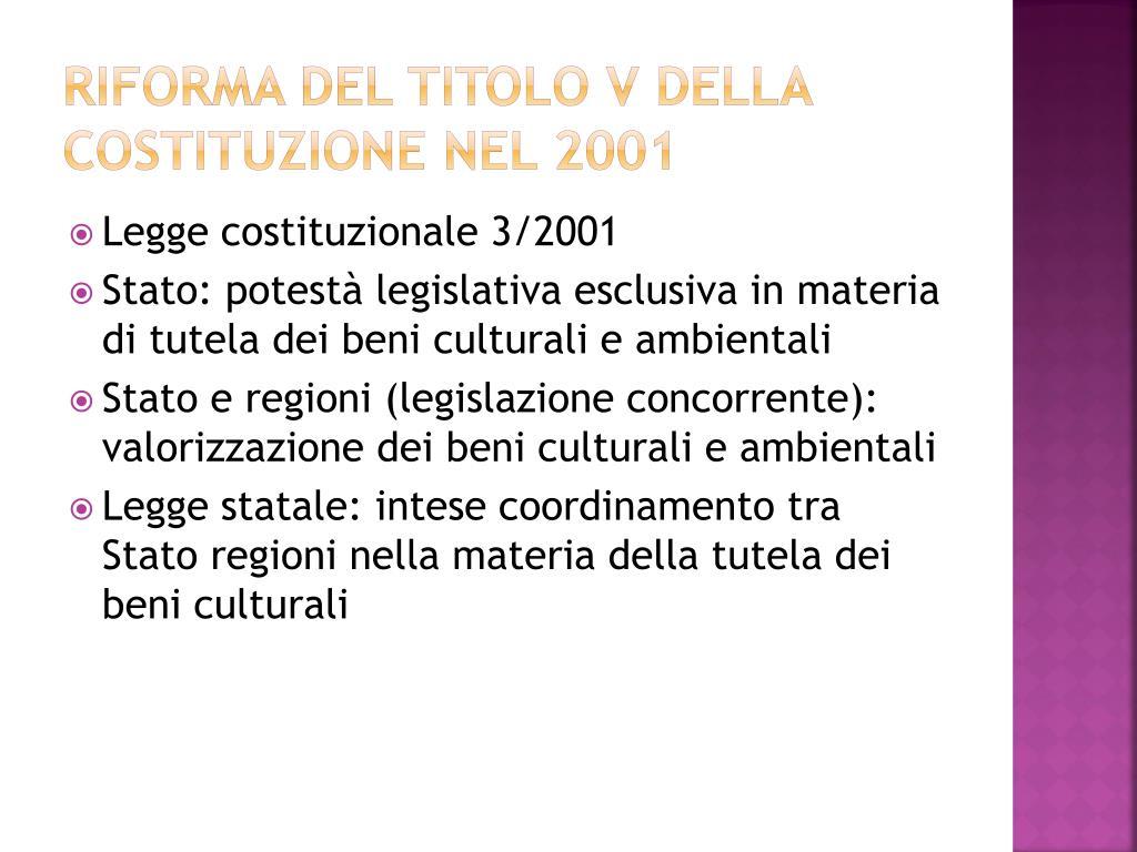 Riforma del titolo V della costituzione nel 2001