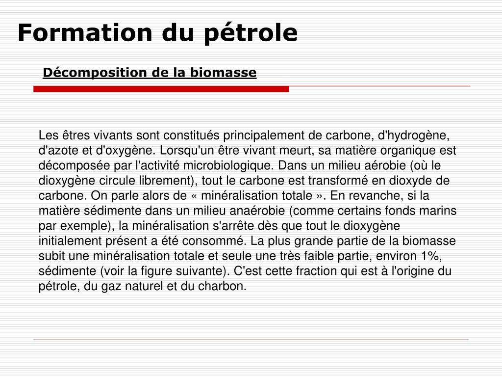 Formation du pétrole