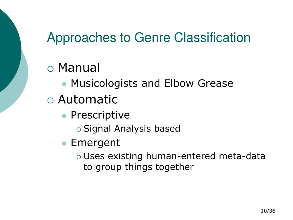 Approaches to Genre Classification