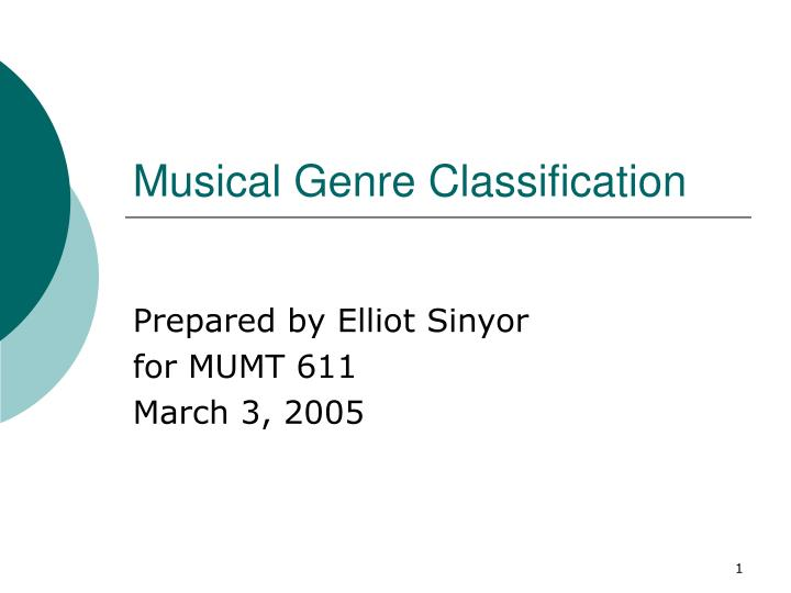 musical genre classification n.
