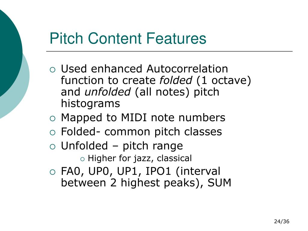 Pitch Content Features