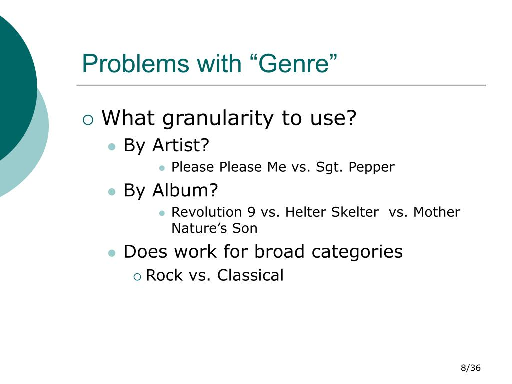 """Problems with """"Genre"""""""