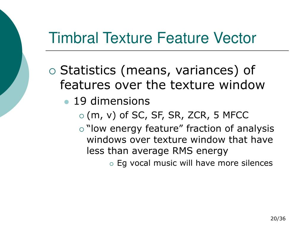 Timbral Texture Feature Vector