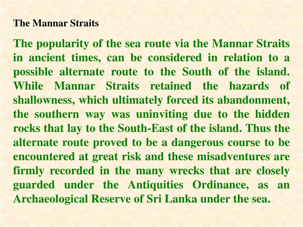 The Mannar Straits