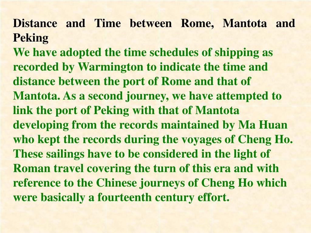 Distance and Time between Rome, Mantota and Peking