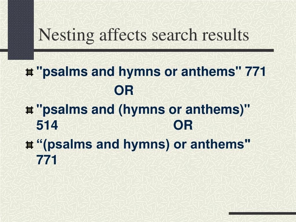 Nesting affects search results