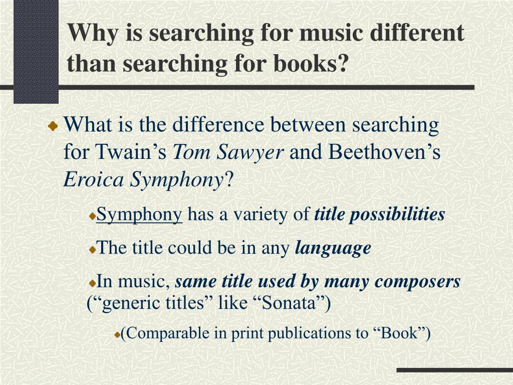 Why is searching for music different than searching for books?