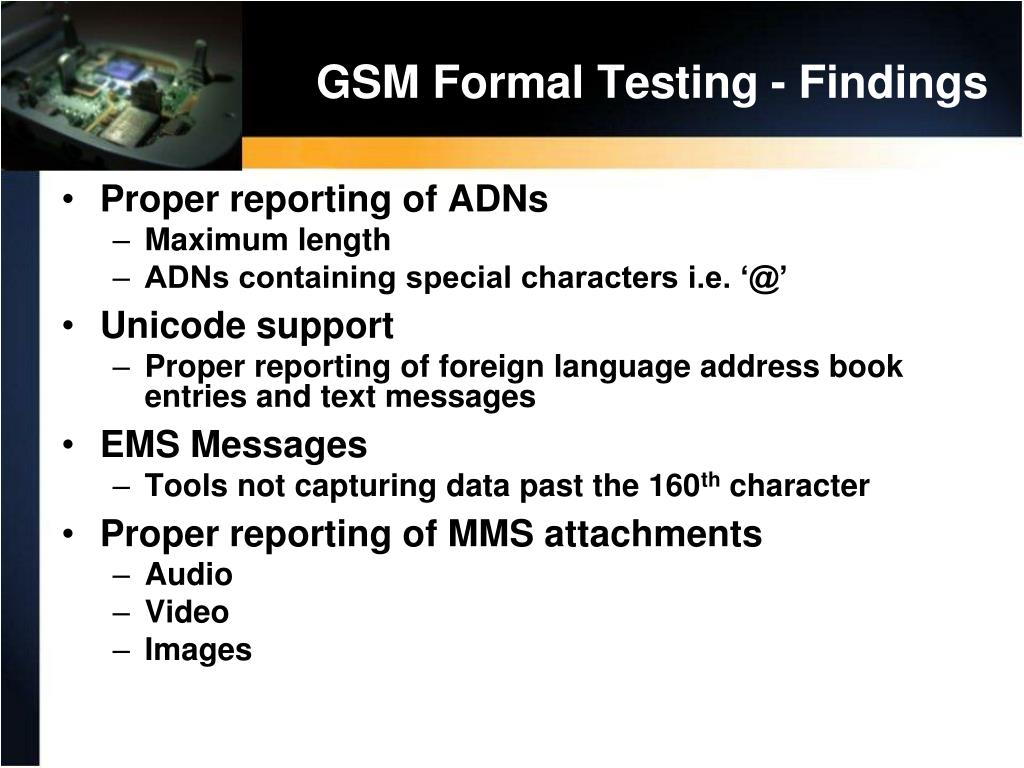 GSM Formal Testing - Findings