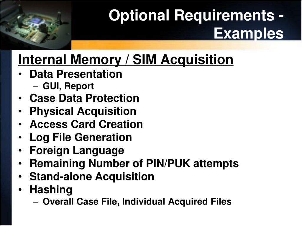 Optional Requirements - Examples