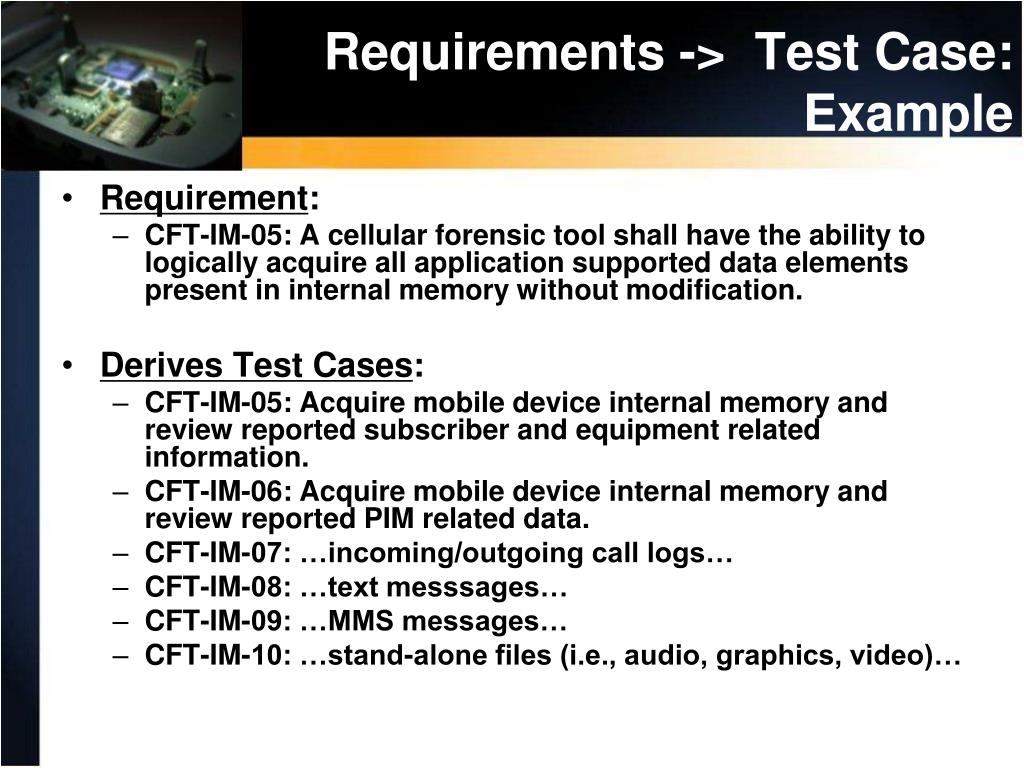 Requirements ->  Test Case: Example