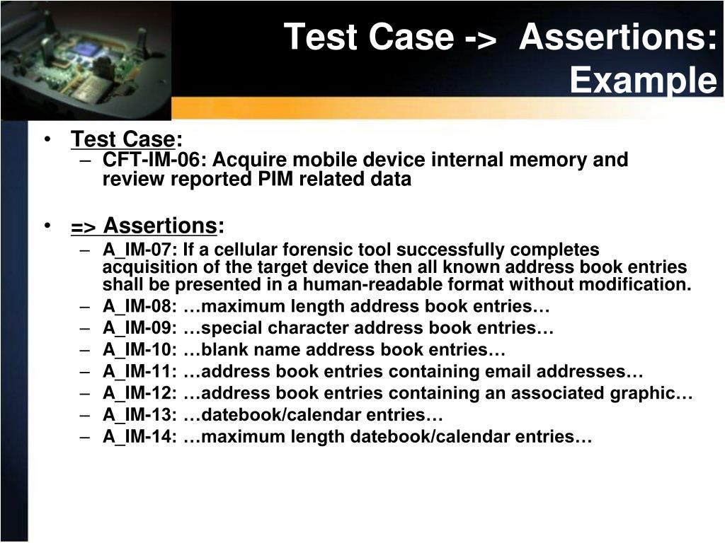 Test Case ->  Assertions: Example