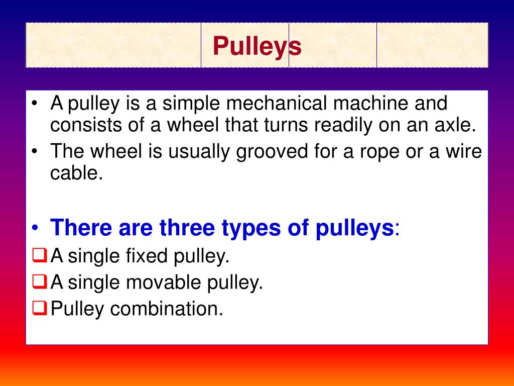 PPT - Pulleys Pulleys PowerPoint Presentation - ID:739953