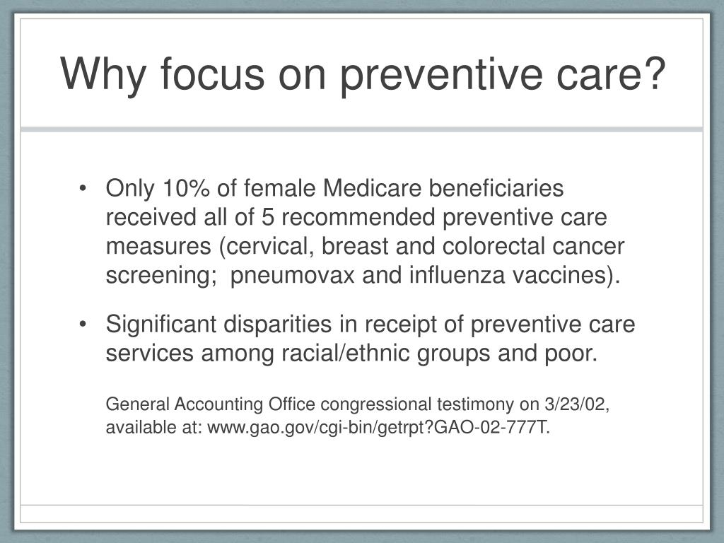 Why focus on preventive care?