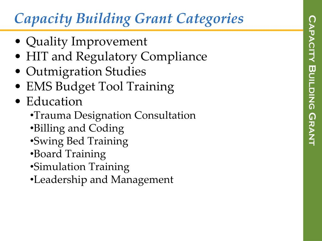 Capacity Building Grant Categories
