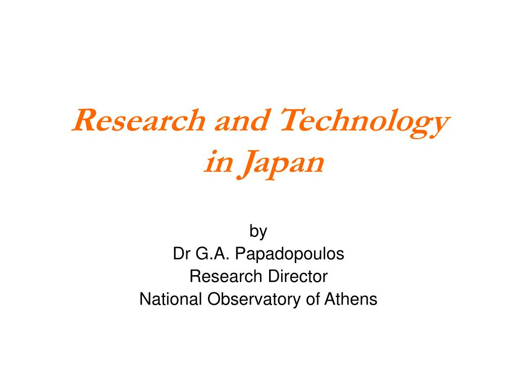 research and technology in japan l.