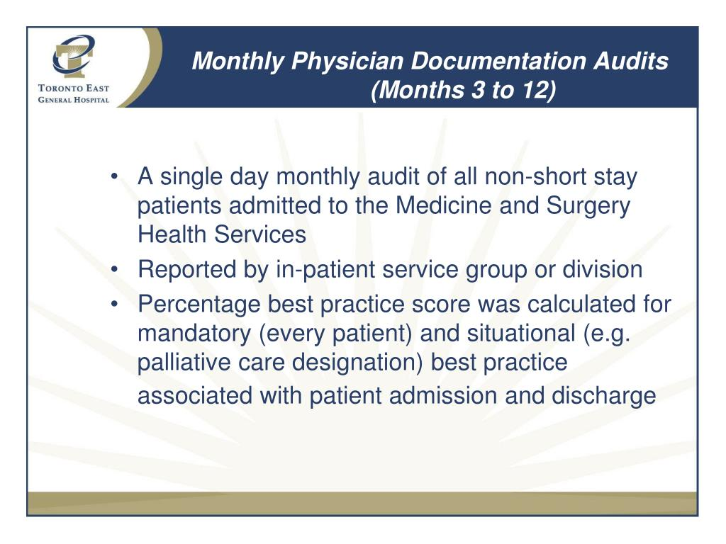 Monthly Physician Documentation Audits (Months 3 to 12)