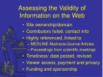 assessing the validity of information on the web15