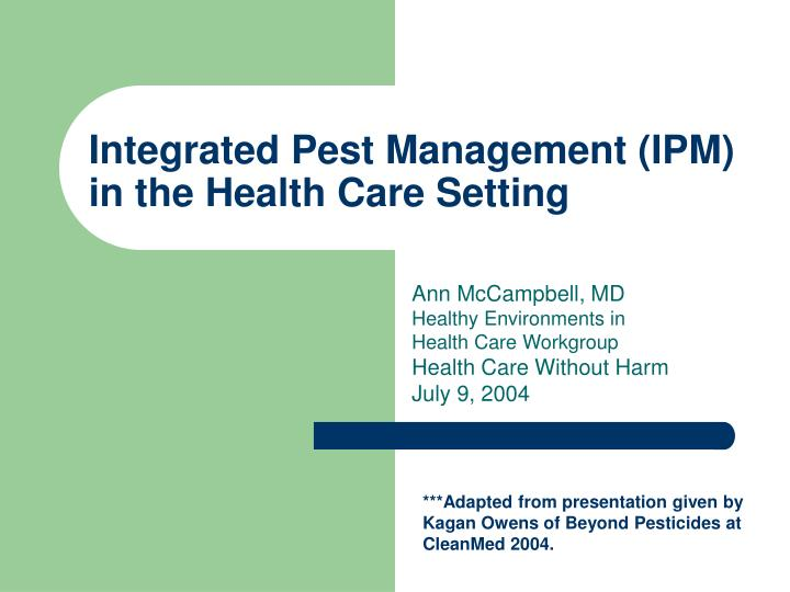 integrated pest management ipm in the health care setting n.