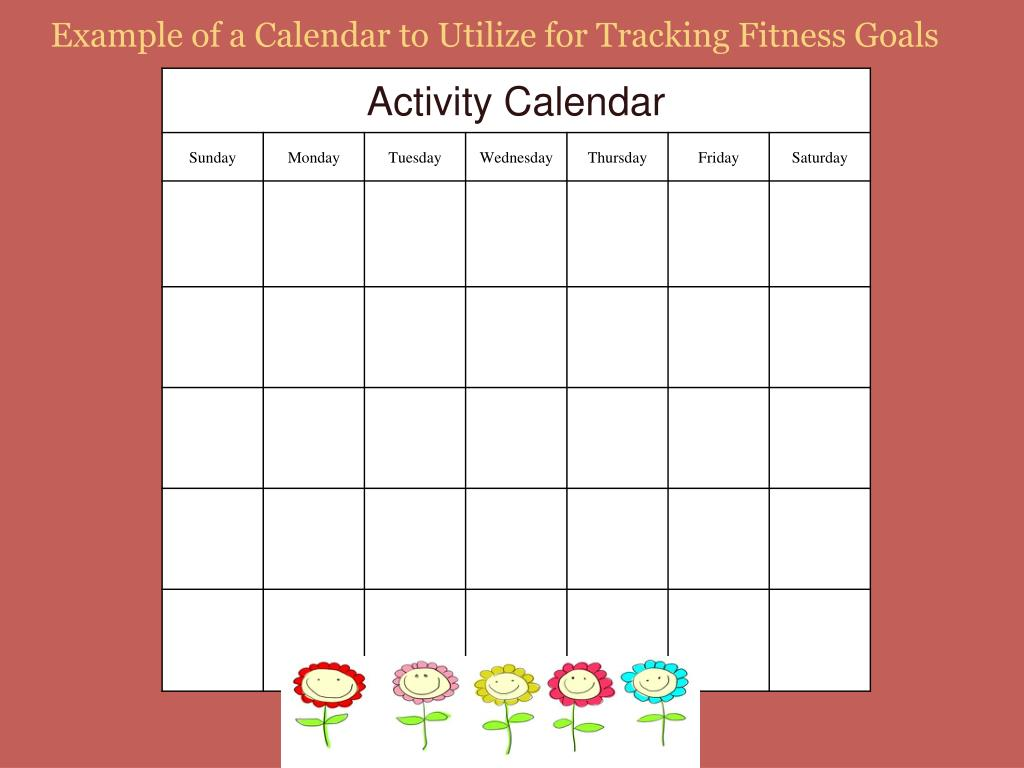 Example of a Calendar to Utilize for Tracking Fitness Goals
