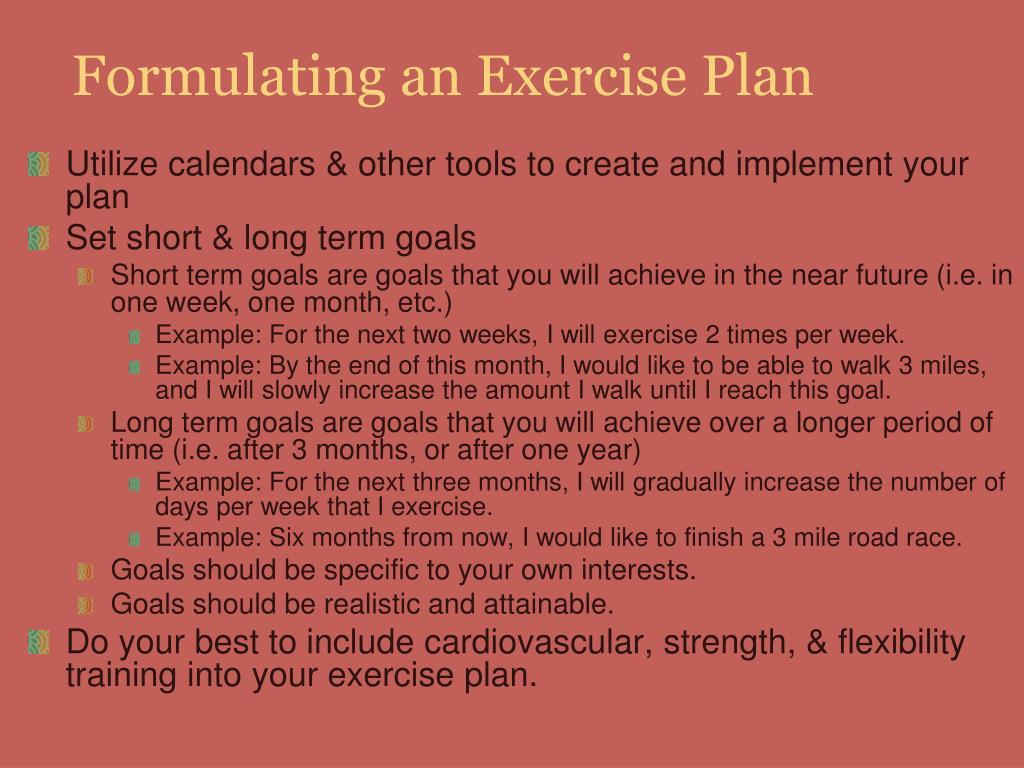 Formulating an Exercise Plan