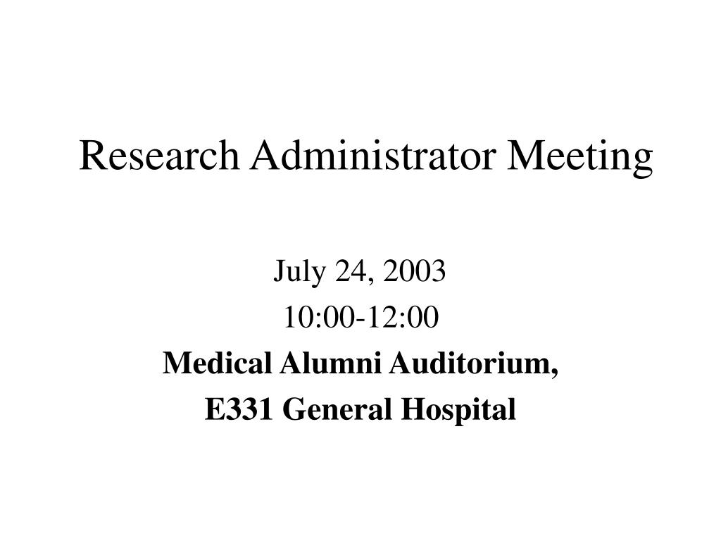 research administrator meeting